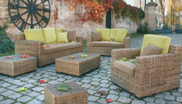set 111 · krines rattan teak fichte outdoor lounge lifestyle möbel, Wohnzimmer