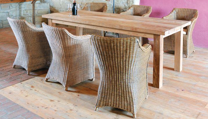 Set 147 Tisch Mammut Krines Rattan Teak Fichte Outdoor Lounge