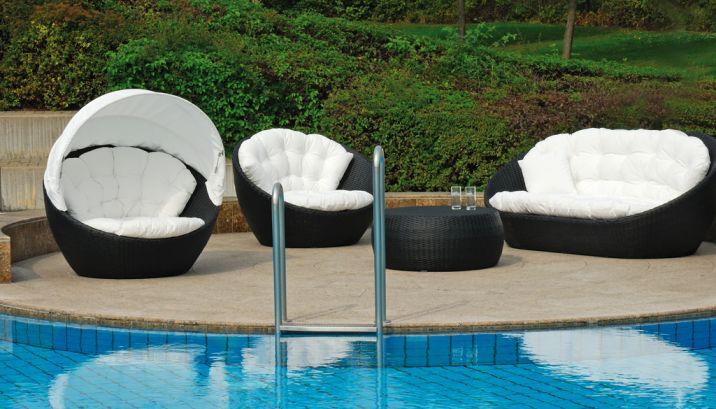 Rattan lounge muschel  Set 700 Sessel und Liegesofa · KRINES Rattan Teak Fichte Outdoor ...